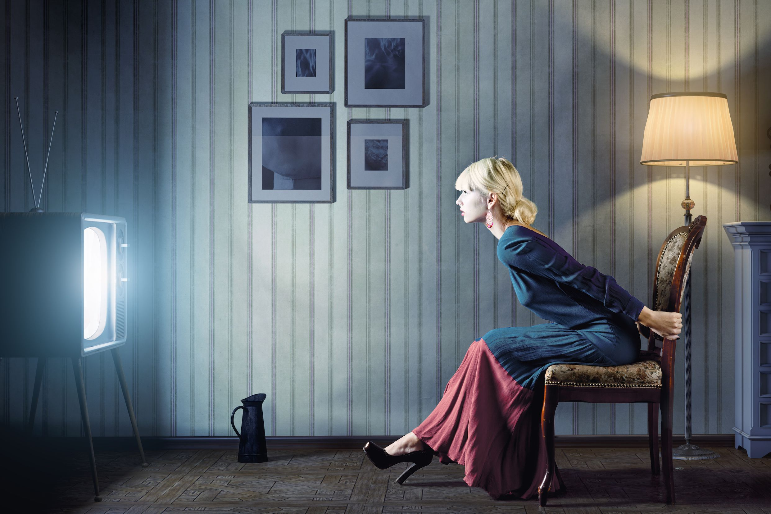 Woman-watching-TV-television