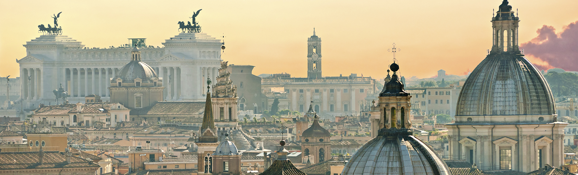 View of Rome from Castel Sant'Angelo, Italy.